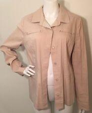Elie Tahari Jacket Coat Stone Beige Linen Blend Safari/Utility Snap Front Sz 14