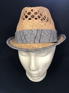 Block Headwear Straw Natural Vented Trilby Cap Hat with Gray Band Small/Med. NWT