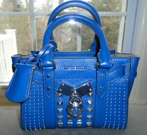 Michael Kors Nouveau Hamilton XS Crossbody Studded Satchel Leather Sapphire NWT