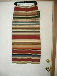 New Ralph Lauren Indian Sequoia  Southwest Linen Pencil Skirt Size S Petite