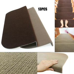 13x Skid-resistant Stair Treads Runners Step Pads Carpet Mats Rugs Dark Brown