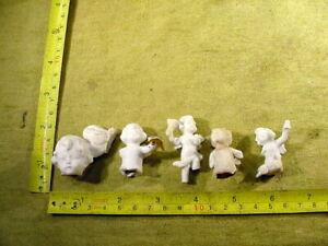 5 x excavated vintage damaged angel jesus doll parts age 1890 mixed media B 868