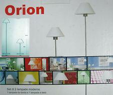 set 2 lampade moderne, piantana a stelo + lampada tavolo linea moderna acciaio