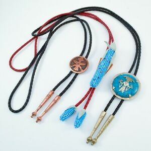 Bell Trading Post Southwest Turquoise Copper Corn 3 Bolo Tie Lot