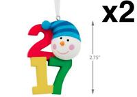 2017 Hallmark LOT 2 Snowman Christmas Tree Ornament, NEW IN BOX, FREE SHIPPING