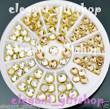 #ER37 Glitter White Champagne Gold Nail Art Tips Decoration Rhinestone + Wheel