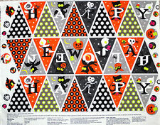 "35"" FABRIC BUNTING PANEL  FLAG CRAFT COTTON  DIRECTIONS INCLUDED HALLOWEEN  BATS"