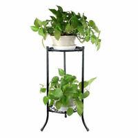 2 Tiers 14in Metal Shelves Flower Pot Plant Stand Display Outdoor Indoor Garden