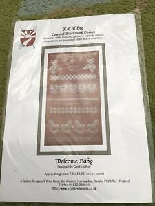 X Calibre Counted Blackwork Design Welcome Baby Cross Stitch Kit