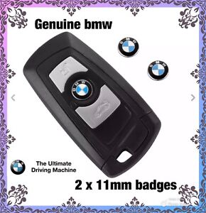 2 x GENUINE BMW Replacement 11mm  metal Key Fob Badges, free fast postage