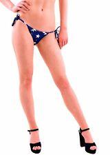 Wildfox Women's New Stars Away Gingham Bikini Bottom Blue Size L RRP £55 BCF76