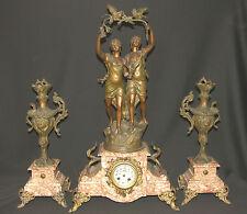 A 19ème 75cm Statuette ROUSSEAU parure de cheminée horloge Pendule marbre clock
