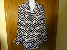 NEW WOMEN'S NOTATIONS BLACK AND WHITE SHIRT SIZE 2X MSP $43.99