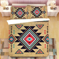 BOHO Aztec Geometric Diamonds Triangles Patchwork Bedding Duvet Quilt Cover Set