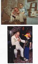 Two 4 x 6 photos of FORREST J ACKERMAN at a convention and at a haunted house.