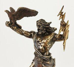 """8 1/2"""" KING ZEUS GOD THUNDER Lightning Bolt GREEK MYTHOLOGY Statue Bronze Color"""