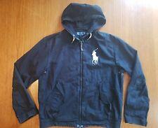 Polo Ralph Lauren Big Pony Hooded Lightweight Jacket - Black - Size L Distressed