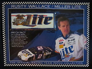 RUSTY WALLACE / MILLER LITE BEER Willabee & Ward NASCAR RACING TEAM PATCH + Card