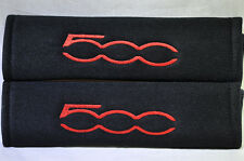 Red on Black Seat Belt Cover Soft Shoulder Pad Pair with Embroidery for Fiat 500