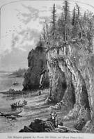 MAINE Mount Desert Island Cliffs Called the Ovens - 1883 German Print