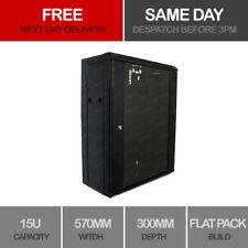 15U Server Rack Data Network Cabinet 19 inch 570 x 300mm Black