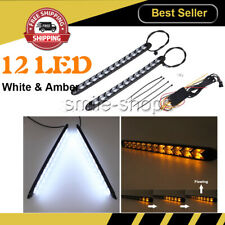 Universal LED Knight Rider Strip Light White Arrow Flasher DRL Turn Signal Amber