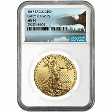 2017 1oz Gold American Eagle ($50) MS70 ER NGC Bald Eagle Label