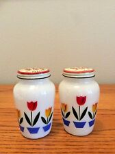 VINTAGE FIRE KING IVORY TULIP SALT AND PEPPER SHAKERS