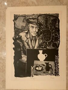 Pencil Signed 10/55 Lithograph Portrait Georges Braque  Signed Mid Century