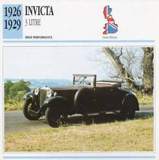 1926-1929 INVICTA 3 Litre Classic Car Photo/Info Maxi Card
