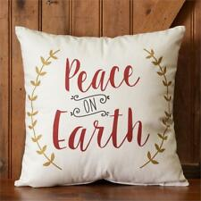 Peace On Earth Country Holiday Christmas 100% Cotton Throw Pillow