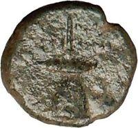 SICILY Syracuse under ROMANS 212BC FLAMEN priest Hat Ancient Greek Coin i24312