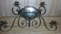 Wall mount brass candelabra 5 candle holder , has drip trays, nice condition