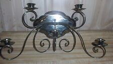 Wall mount brass candelabra 5 candle holder , was drip trays, nice condition