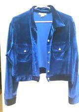 New listing Lew Magram Vintage blue velour stretch jacket and long skirt Medium Dressy