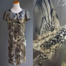 Marc Cain MarcCain Grey Silk Charmeuse Dress Bird Wing Feather Graphic NWT sz 2