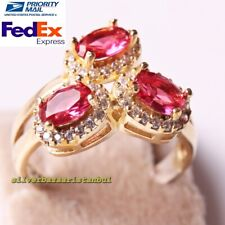 Turkish 925 Sterling Silver Tiny Oval Red Ruby Stone Ladies Ring All Size