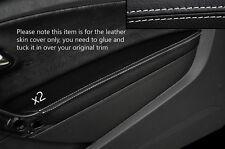 WHITE Stitch 2x Porta BRACCIOLO PELLE COPERTURA Adatta per VW Polo MK8 09-15 3 PORTE