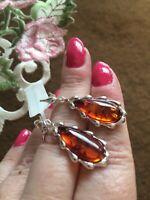 "1.75""- Baltic Amber Sterling Silver Dangle Earrings"