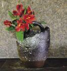 Shigaraki yaki ware Japanese pottery single flower vase H18cm With Handle