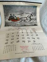 1936 Calendar Currier & Ives Travelers Ins. Hartford Connecticut Full Year 12 pg