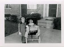 SMILING LITTLE GIRL WITH HER DOLL IN PRAM & TWO VINTAGE SNAPSHOT PHOTOS