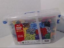 Bucket of Building Bricks - 1000 PC Bulk Blocks with Roof Pieces - Tight Fit