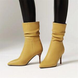 Fashion Autumn Women's Half Ankle Boots Heel Pointed Toe Stiletto Short Boots