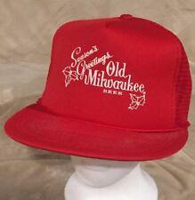 7a10b914aba VTG Old Milwaukee Beer Seasons Greetings Red Rope Mesh Trucker Snapback Hat  Cap