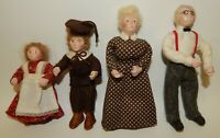 4 Vintage Poseable Composition Dollhouse Dolls Grandfather Grandmother & 2 Child