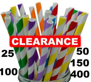Paper Straws Stripes and Plain Wedding Paper Drinking Straws Birthday BULK