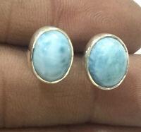 Solid 925 Sterling Silver Larimar Gemstone Stud Earrings