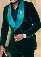 Green Velvet Men Suits Tuxedo Wedding Groom Double Breasted Jacke Blazer Pants