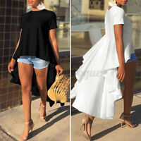 Womens Short Sleeve Tunic Tops Asymmetric Shirt Cocktail Blouse Tee Ruffled Tops